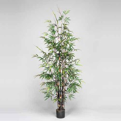 Black/Green 7'H Polyester Bamboo Tree
