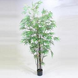 Black/Green 7'H Bamboo Tree x 10 w/1735 leaves in Pot
