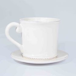 "4""H X 6""DIA DOLOMITE TEA CUP W/ATTACHED SAUCER"