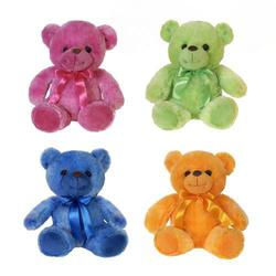 "Bright 8""H Plush Sitting Bears w/Ribbon-4 Assorted"