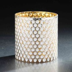 "WHITE/GOLD 4 1/2"" X 4 1/2""DIA DIMPLED MERCURY GLASS VASE"