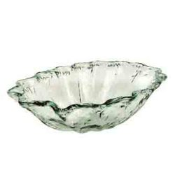 "CLEAR 7 3/4""H X 19""DIA WAVY RIM GLASS BOWL"