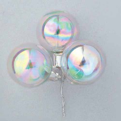 Clear/Iridescent 35mm Glass Christmas Ball w/Stem