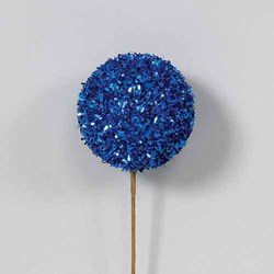 Blue 50mm Glitter/Tinsel Styro Ball Ornament on Pick
