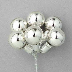 Shiny Silver 25mm Glass Xmas Balls w/Matching Stem